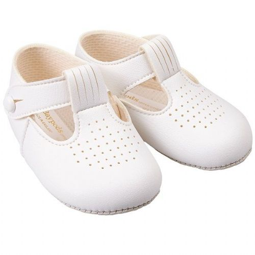 Gorgeous Bay Pods White Baby T BAR Pram Shoes